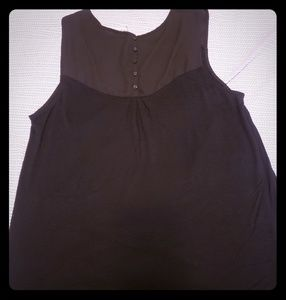 Black Merona sleeveless top with button detailing.